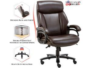 High Back Big & Tall 400lb Bonded Leather Office Chair Large Executive Desk Computer Swivel Chair - Heavy Duty Metal Base, Adjustable Tilt Angle, Thick Padding and Ergonomic Design for Lumbar Support