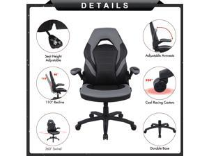 Rimiking Gaming Chair Racing Computer Desk Executive Office Chair 360 Swivel Flip Up Arms Ergonomic Design For Lumbar Support Women Men Adults Home Office Furniture Home Office Chairs