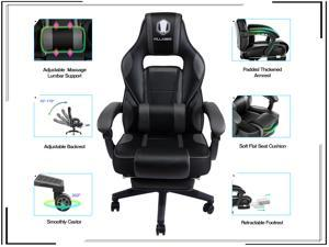 KILLABEE Massage Gaming Chair High Back PU Leather PC Racing Computer Desk Office Swivel Recliner with Retractable Footrest and Adjustable Lumbar Support
