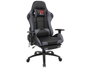 RIMIKING Massage Gaming Chair with Retractable Footrest-Adjustable Lumbar Cushion Computer Office Racing Chair Headrest Swivel Rocking Desk Chair Ergonomic
