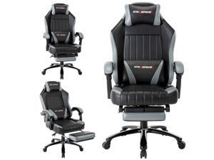 ICOMOCH Big & Tall 350lb Memory Foam Reclining Gaming Chair Metal Base - Adjustable Back Angle and Retractable Footrest Ergonomic High-Back Leather Racing Executive Computer Desk Office Chair, Grey
