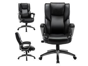 STARSPACE Bonded Leather Office Chair - Adjustable Lumbar Support Knob and Tilt Angle High Back Executive Computer Desk Chair, built-in inner spring For Comfort and Ergonomic Design For Lumbar Support