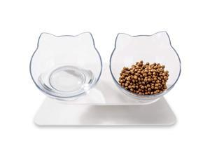 Laifug Elevated Double Cat Bowl,Pet Feeding Bowl | Raised The Bottom for Cats and Small Dogs (Set of 2, Transparent & Black)