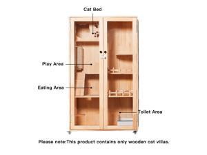 Laifug Large Wooden Cat House Luxury Multi-Feature Cat Condon with Cat Scratching Posts 59in Oversized Cat Villa on Wheels