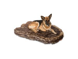 Laifug Large Faux Fur Dog Bed,5-inch Thick Grade Orthopedic Memory Foam Dog Bed,Removable Cover with Anti-Slip Bottom,Waterproof Liner