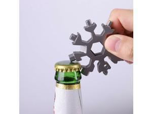 18 In 1 Multifunctional Snowflake Tool Card All Steel Mini Universal Screwdriver EDC Wrench Bicycle Maintenance Gadget (silver)