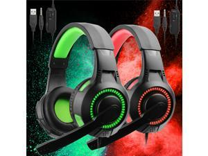 3.5mm Gaming Headset with Mic LED Headphones Surround For PC Laptop(Green)