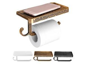 Wall Mounted Toilet Roll Tissue Holder Stand Bath Paper Holder Phone Shelf Decor