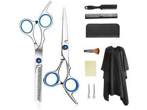 Professional Hair Cutting Scissors Set Thinning Shears Hair Razor Comb Clips Cape Hairdressing Kit