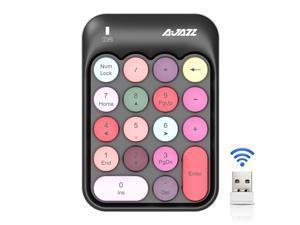 AJAZZ 2.4G Wireless Keyboard Mini 18 Keys Numeric Keypad Computer Digital Keyboard For PC Accounting tasks Pink Keyboard