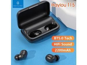 Haylou T15 TWS True Wireless Earphones HiFi Stereo Mini Binaural Earbuds In-ear BT 5.0 Touch Control Headset with Mic and 2200mAh Charging Dock 60 Hours Music Companion