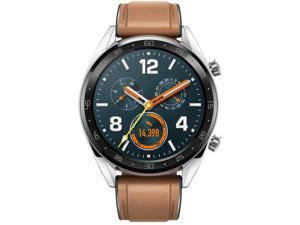 "HUAWEI Watch GT (2018) GPS, Bluetooth Smart Watch GT, 1.39"" AMOLED, 5ATM Waterproof 14 Days Battery Life Heart Rate Tracker For Android/iOS (Steel (Leather Strap)) Brown"