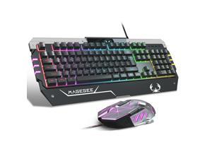 USB RGB Gaming Keyboard and Mouse Combo, GT817 104 Key Rainbow Backlit Keyboard and Mouse Set, Computer Keyboard USB Wired Mouse for Windows PC Gamers (RGB Backlit)