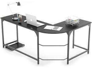 INMISS Reversible L Shaped Desk Corner Gaming Computer Desks for Home Office PC Workstation Table,Black