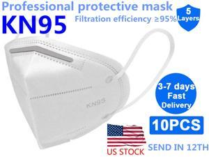 US STOCK KN95 Mask, 5-layer Non-Disposable N95 Face Mask Anti Covid-19 Virus, Oral And Nasal Hygiene, Breathable, Dustproof, Nonwoven Fabrics, Work Mask(10 pcs)