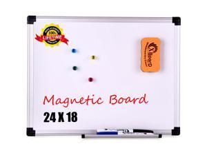 Magnetic Whiteboard / Dry Erase Board, 24 x 18 Inches Double Sided White Board, Silver Aluminium Frame