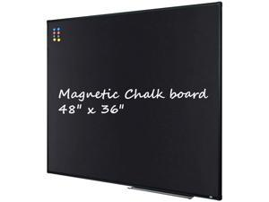 """Large 48"""" x 36"""" Magnetic Chalk Board  Wall Mounted Chalk Black Bulletin Board with Pen Tray, Black Aluminum"""