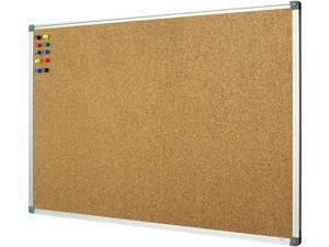 Lockways Corkboard Bulletin Board, Double Sided Cork Board 48 x 36 Inch, Notice Message Pin Board, Silver Aluminium Frame