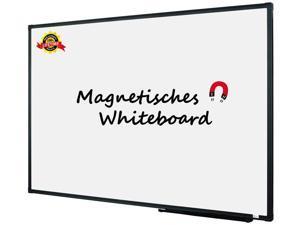"Lockways Magnetic Dry Erase White Board, 48"" x 36"" Whiteboard, Black Aluminium Framed Presentation Memo Board for School, Home, Office"