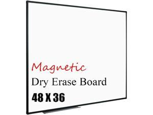 """Magnetic Whiteboard 48"""" x 36"""", White Board/Dry Erase Board with Detachable Marker Tray, Black Aluminium Frame"""