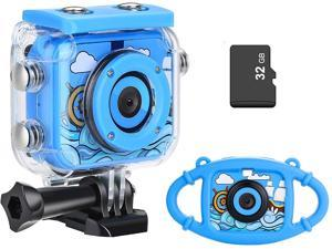 MYPIN Kids Waterproof Camera, Digital Underwater Action Camera for Kids 3-13 Years Old Christmas Birthday Gifts - Rechargeable Camcorder with 32GB TF Card and Anti-Fall Silicone Case (Blue)