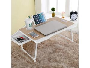 Laptop Bed Tray Table with Store Drawer, Astoryou Laptop Desk Notebook Stand Reading Holder Built in Convenient Handle & Foldable Legs & Cup Slot for Bed/Sofa/Couch/Floor (Beige)