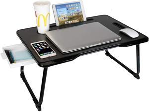 Laptop Desk, CHARMDI Portable Laptop Bed Tray Table, Lap Desk, Couch Table, Bed Desk with Handle & Side Drawer for Bed/Sofa- Black