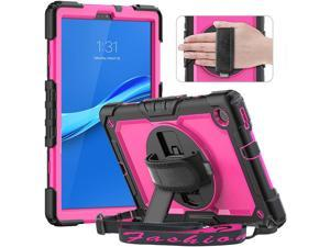 Timecity Case for Lenovo Tab M10 Plus (2nd Gen) 10.3 Inch 2020, Heavy Duty Shockproof Tablet Cover with Screen Protector, 360° Rotating Stand, Hand Strap for Lenovo Tab M10 Plus Case, Rose