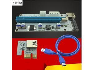 Riser Card VER008S 3 in 1 Molex Power 60CM LED PCI-E Riser Card 4pin 6pin Sata PCI-E 1x to 16x for Antminer Bitcoin Miner Mining