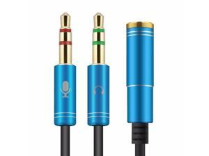 3.5mm Female to 2 Male Gold Plated Headphone Mic Audio Y Splitter  Cable for PC
