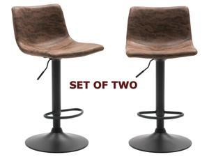 "Metal Upholstered Vintage Brown Bar Stool, Set of 2, 24-32"" Adjustable Height"