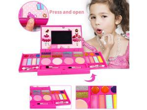 Kids Washable Makeup Kit, Fold Out Makeup Palette with Mirror, Make Up Toy Cosmetic Kit Gifts for Girls - Safety Tested- Non Toxic