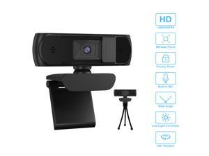 1080P Webcam With Privacy Shuttter Full HD Video Autofocus Webcam Computer Camera with Dual Microphones USB Plug and Play for Conference Study Video Calling Gaming Laptop/Desktop/Mac/TV