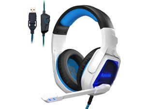 Gaming Headset for PC PS4 Computer Headphone Surround Stereo Sound USB Wired Headset with Mic Over-The-Ear Noise Isolating, Volume Control, LED Lights for PC Gamers (White)