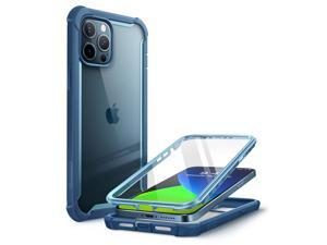 """i-Blason Ares Series iPhone 12 Pro Max Case 6.7"""" 2020 Release, Dual Layer Rugged Clear Bumper Case for iPhone 12 Pro Max with Built-in Screen Protector (Blue)"""