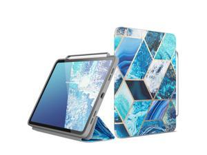 i-Blason Cosmo Case for New iPad Pro 12.9 Inch (2021 2020 2018 Release), Full-Body Trifold Stand Protective Case Smart Cover with Auto Sleep/Wake & Pencil Holder (Blue)