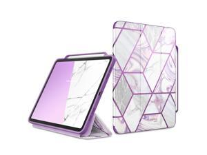 i-Blason Cosmo Case for New iPad Pro 12.9 Inch (2021 2020 2018 Release), Full-Body Trifold Stand Protective Case Smart Cover with Auto Sleep/Wake & Pencil Holder (Purple)