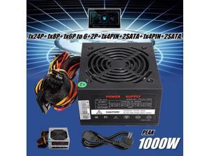 EU Plug Black 1000W Power Supply Psu Pfc Silent Fan Atx 24pin 12V PC Computer Sata Gaming PC Power Supply For Intel Amd Computer