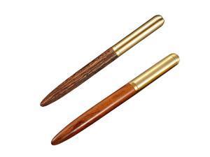 2 Pcs Classic 0.5mm Wood Fountain Pen Copper Business Fine Nib Pen Office School Supplies Stationery Camel & Orange Red,2types