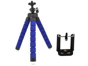 Phone Tripod Compatible with iPhone, Android Phone, Camera, Small and Lightweight Mini Tripod with Flexible Legs Unique 360° Rotating Holder (Blue)