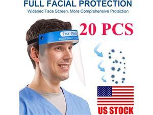 20PCS Face Shield Anti-fog Full Safety Face Shield, Universal Reusable Face Protective Visor for Eye Head Protection, Anti-Spitting Splash Facial Cover Women Men Unisex