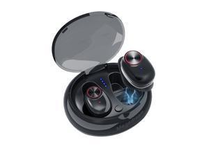 Wireless earphones, Bluetooth V4.2 earphones, in-ear earphones, binaural sports sweatproof earphones (with microphone and charging case), suitable for iPhone iPad iPad Samsung most Android phones