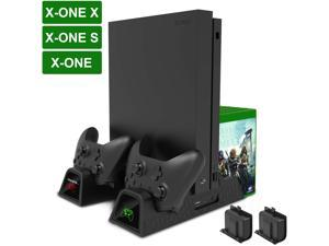 Vertical Cooling Stand,  Xbox One Dual Controller Charging Docking Station Dock Cooler for Microsoft Xbox One/ Xbox One S /Xbox One X Console & 2 Pack 600mAh Batteries & 12 Game Disc Storage