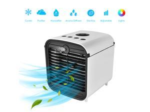 Portable air cooler, 5-in-1 mini air cooler with LED lights and purifier, personal air cooler for outdoor travel in homes and offices