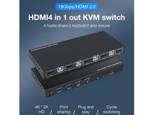 HDMI KVM Switch 4 In 1 Out HDMI 2.0 Switcher HDCP 2.2 USB Hub Connect Switch For Laptop For PS4 For PS3 And For Nintendo Switch