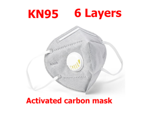 40pcs KN95 Mask 6-layers N95 Activated Carbon Mask PM2.5 FPP2 Anti-fog Strong Reusable Protective Mask With Breathing Valve Folding Fespirator Gray