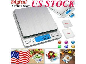 Food Weighing Scales3000g/0.1g Kitchen Scales Digital Electronic Pocket LCD  Jewellery Stainless Steel Kitchen Baking Scale Portable High Precision US STOCK