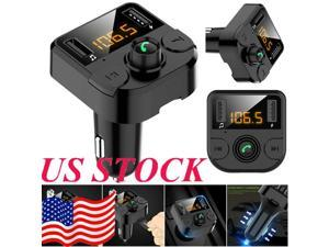 Bluetooth Car Player Bluetooth 2 Port Dual USB Charger LCD Wireless Car MP3 FM Player Transmitter Radio Voice Broadcast Car Adapter Lossless Sound Handsfreee Bluetooth Call U Disk TF Card Playback USA