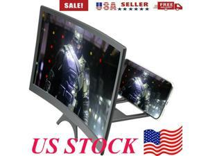 """12"""" HD Curved Screen Magnifier for Mobile Phone HD Video Amplifier Stand Magnifier 3D Movie Video Amplifier with Foldable Holder Stand for Smart Phones Cell Phone Mobile Phone iPhone Samsung US STOCK"""