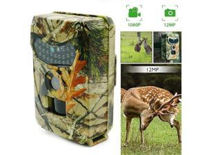 Trail Game Camera Hunters Wildlife 12MP HD 1080P Video Hunting Cam Infrared IR Night Vision Up to 49ft, Motion Activated Sensor IP65 Waterproof